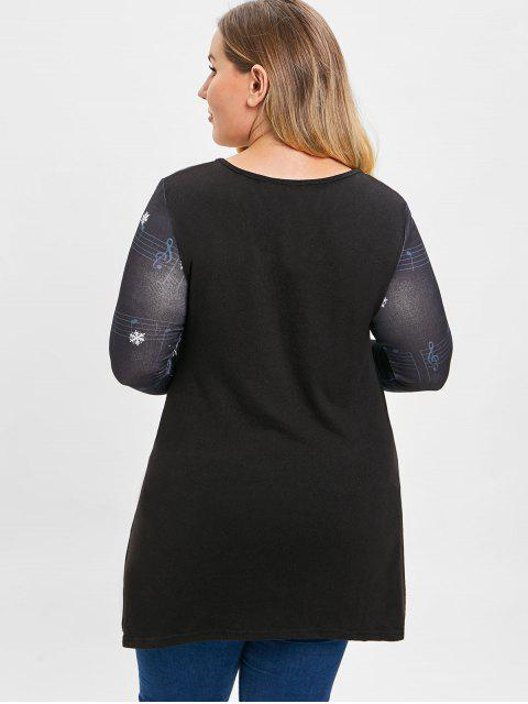 outfits Plus Size Christmas Snowman Snowflake Musical Note Long Sleeves Top - BLACK 3X Mobile