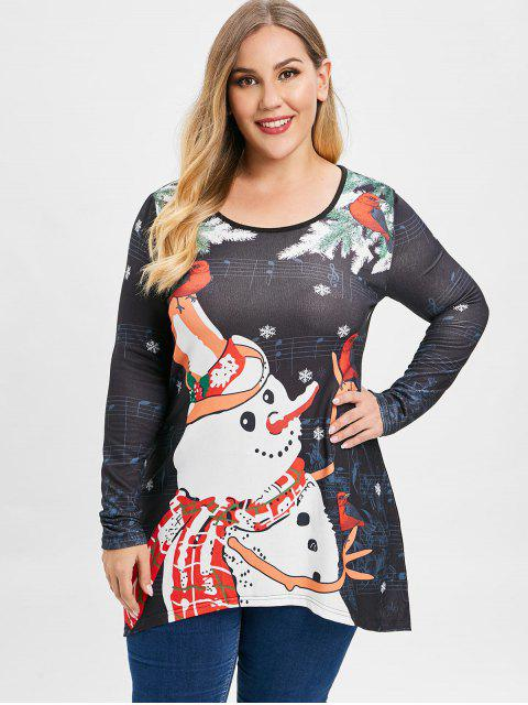 chic Plus Size Christmas Snowman Snowflake Musical Note Long Sleeves Top - BLACK L Mobile