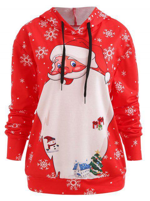 Sudadera con capucha con lazo de navidad santa - Rojo S Mobile