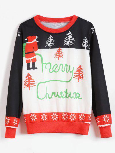 dccc705d28d Christmas Tree Santa Claus Graphic Sweatshirt - White L