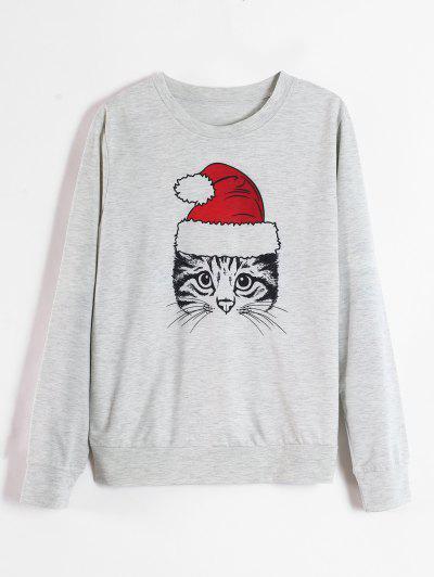 Cat Graphic Christmas Sweatshirt - Light Gray L