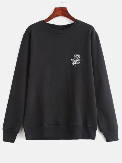Floral Print Graphic Pullover Sweatshirt - Black L