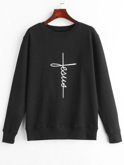 Graphic Pullover Sweatshirt - Black M