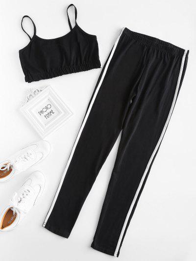 Stripe Trim Crop Cami Top With Leggings Set - Black Xl