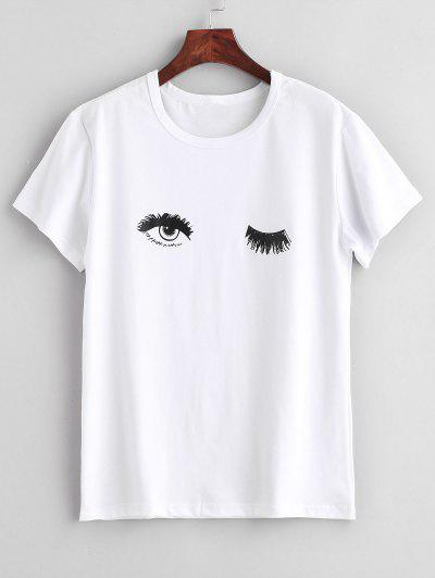 Wink Eye Print Short Sleeve T-Shirt