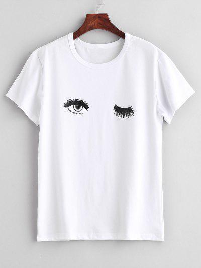 Camiseta Estampada De Manga Corta Con Estampado De Ojos De Wink - Blanco Xl