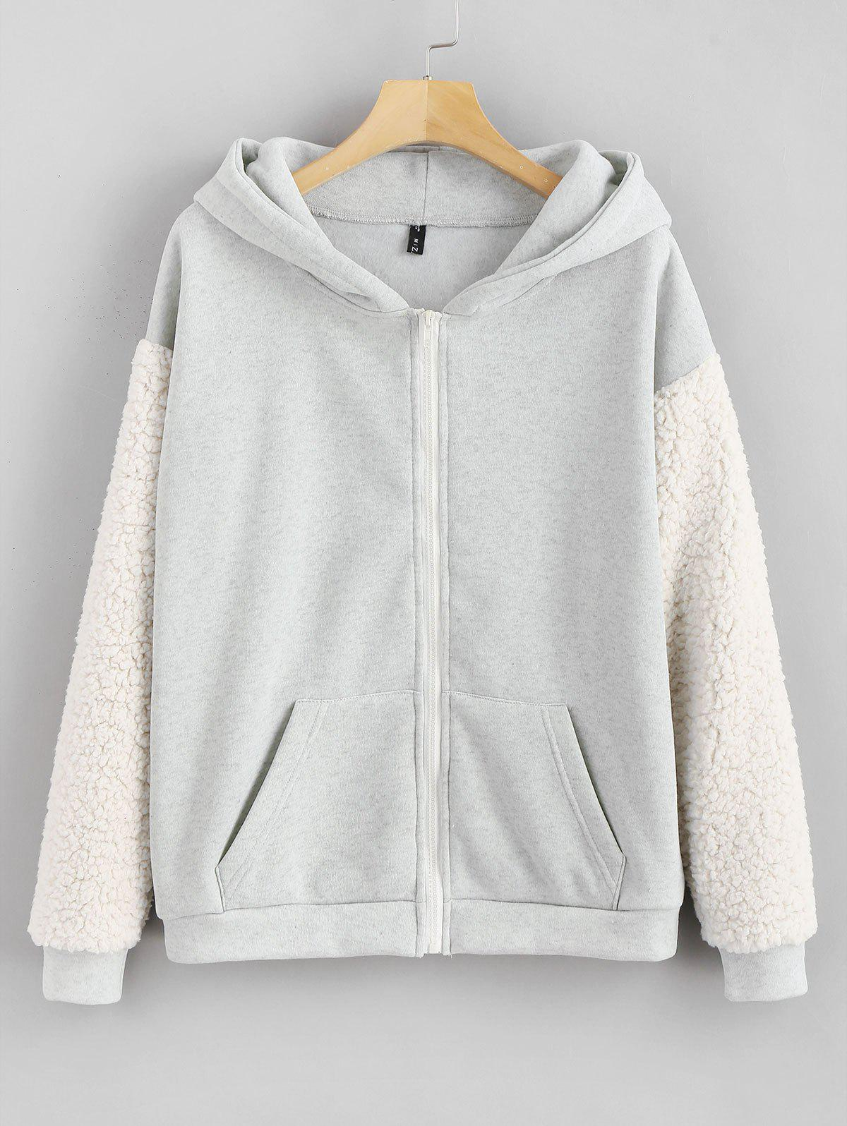 Pockets Fluffy Zip Up Hoodie