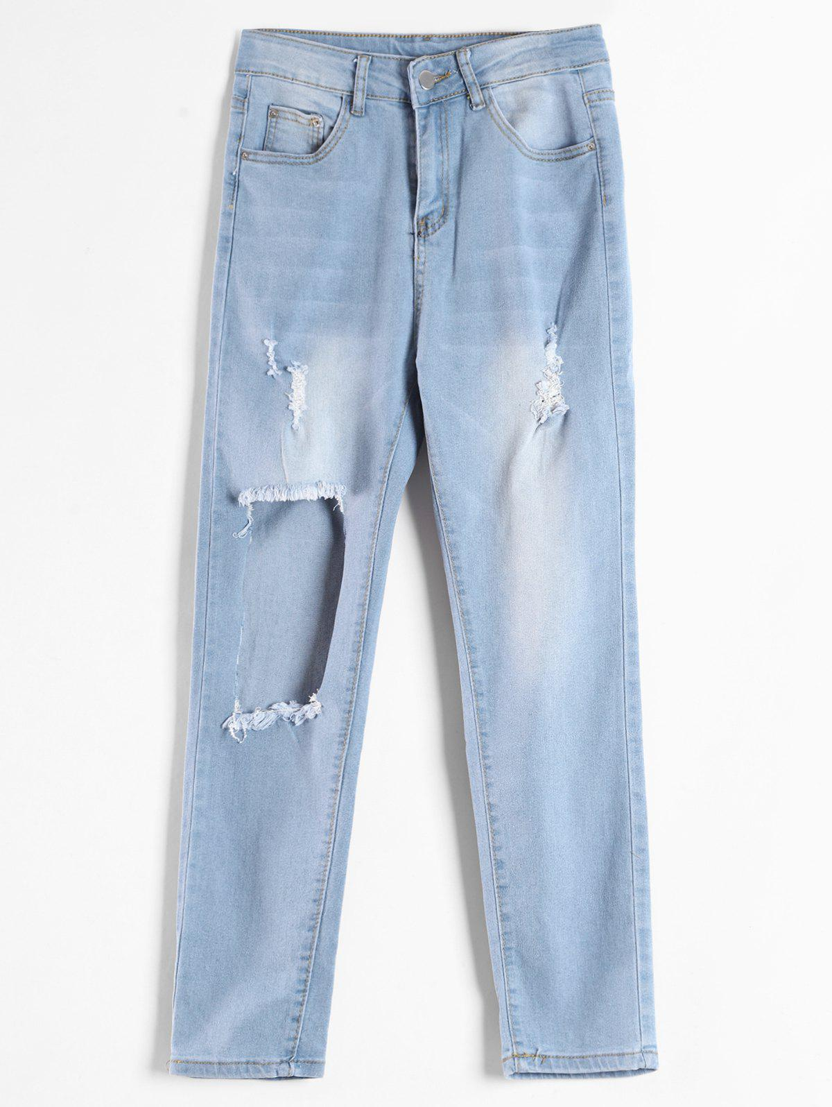 Cut Out Hole Distressed Jeans 316163002