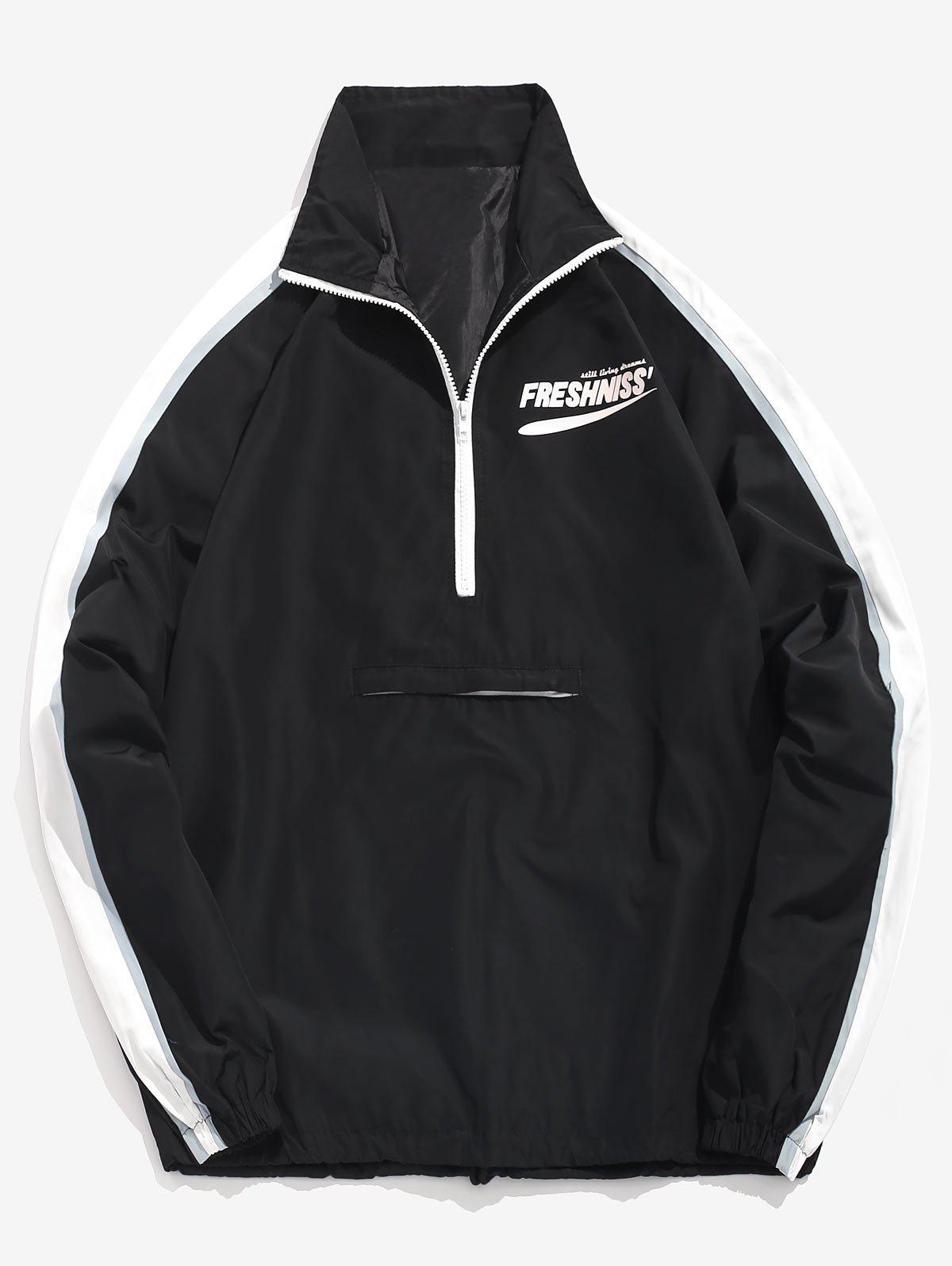 Half Zipper Letter Pullover Windbreaker Jacket, Black