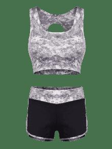 93b3bed007 49% OFF  2019 Cut Out Sports Bra And Shorts Set In GRAY L