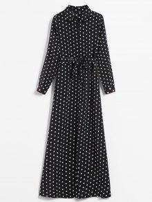 فستان بنمط قميص مطبع - أسود M