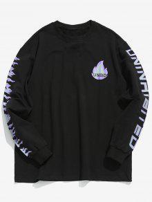 قميص مطبوع برسمة اللهب - أسود M