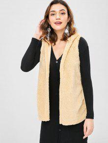 Open Front Hooded Fluffy Waistcoat - خوخ Xl
