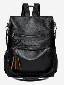 بو شرابة تصميم حقيبة كروسبودي الظهر - أسود
