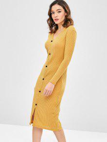 الصلبة اللون سليم كارديجان اللباس - الذهب البرتقالي S