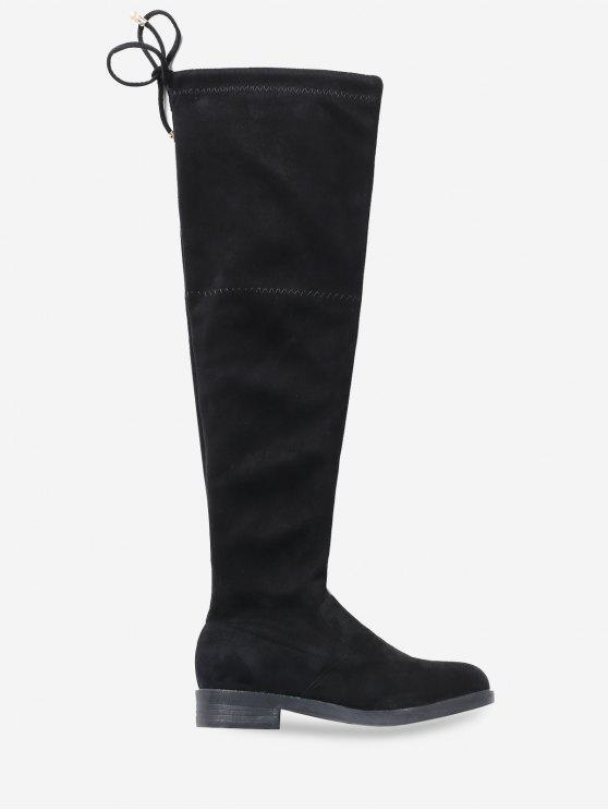 a9b59ebb04e Low Heel Drawstring Over the Knee Boots BLACK