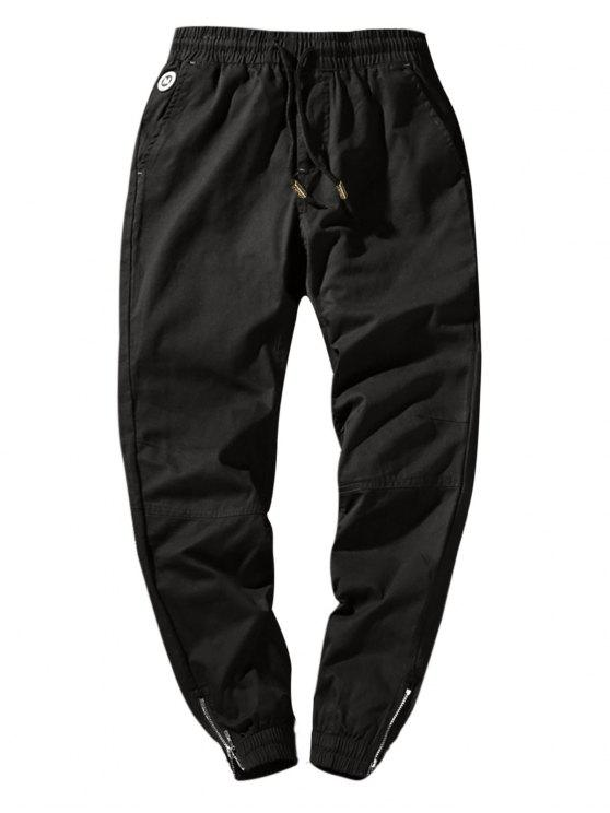 fashion Zip Hem Solid Color Drawstring Waist Jogger Pants - BLACK S