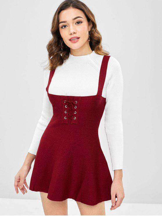 4ea576173d 36% OFF  2019 Lace Up Sweater Skater Dress In RED WINE S