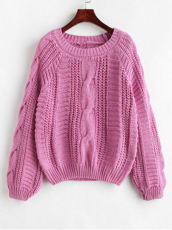 online Cable Knit Chunky Sweater - DEEP PINK ONE SIZE