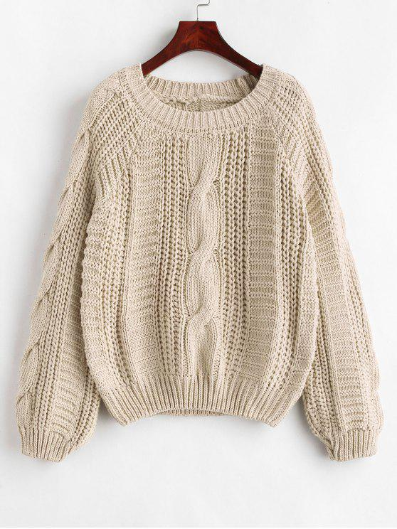 shops Cable Knit Chunky Sweater - BEIGE ONE SIZE