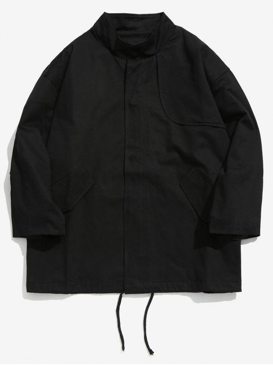 sale Drop Shoulder Drawstring Jacket - BLACK M