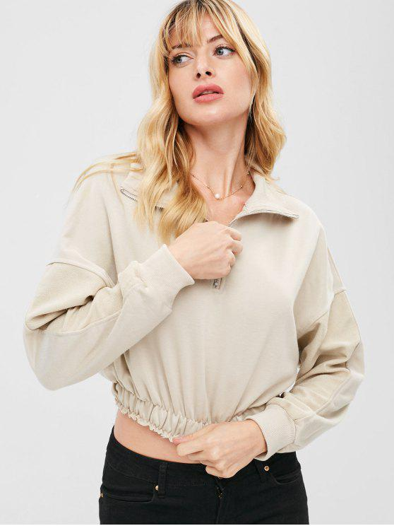 chic ZAFUL Half Zip Crop Sweatshirt - BEIGE S