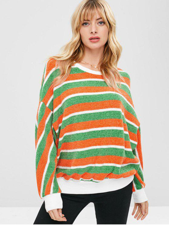 women's ZAFUL Contrast Striped Sparkly Christmas Sweater - MULTI L