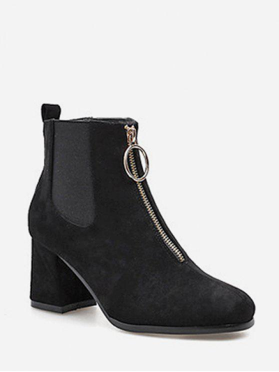 trendy Square Toe Front Zip Ankle Boots - BLACK EU 39
