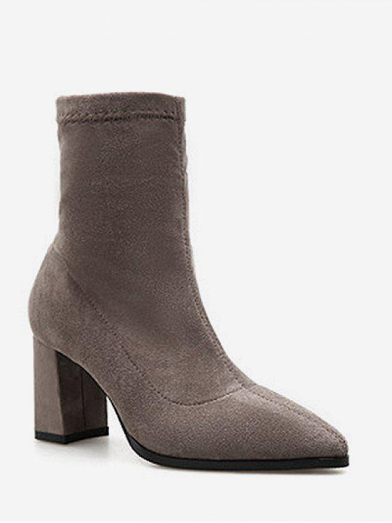 affordable Pointed Toe Chunky Heel Suede Boots - DARK KHAKI EU 37