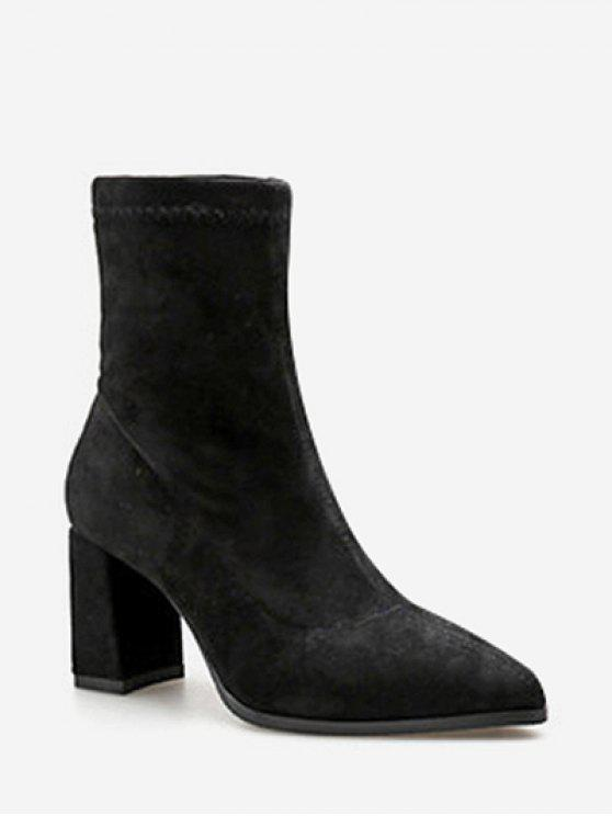 lady Pointed Toe Chunky Heel Suede Boots - BLACK EU 38