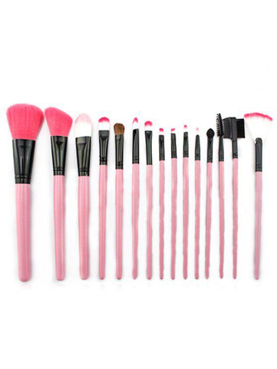 lady 15 Pcs Pink Handles Ultra Soft Makeup Brush Set with Brush Bag - PINK