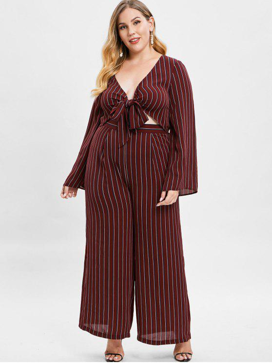 lady ZAFUL Striped Plus Size Blouse and Pants Set - RED WINE 1X