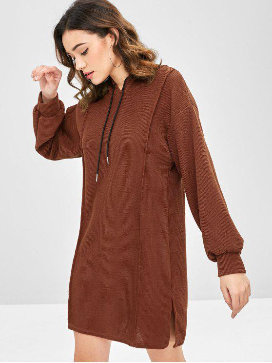 lady Side Slit Hooded Sweater Dress - CHESTNUT ONE SIZE