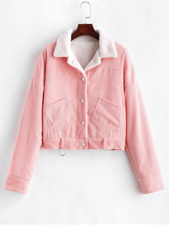 ladies Fleece Drop Shoulder Corduroy Jacket - PINK L