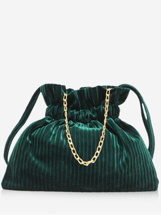 fashion Corduroy Leather Bucket Shoulder Bag - DARK GREEN