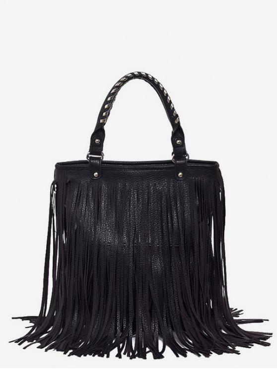 fancy PU Leather Tassel Design Handbag - BLACK
