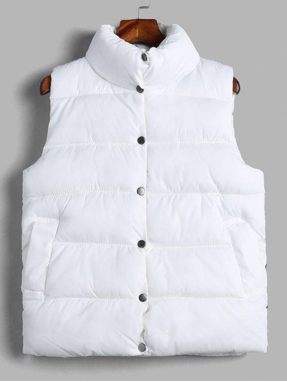 buy Solid Color Puffer Waistcoat - WHITE XL