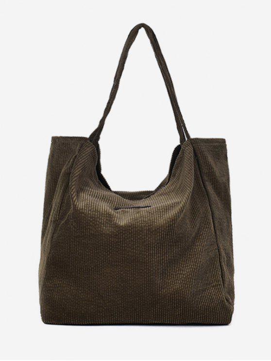 womens Corduroy Large Capacity Solid Color Shoulder Bag - HAZEL GREEN