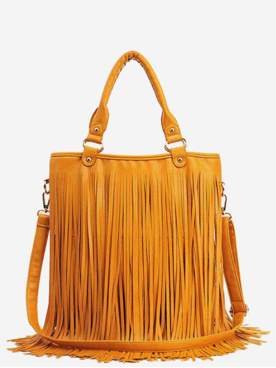 new PU Leather Tassel Design Handbag - BEE YELLOW