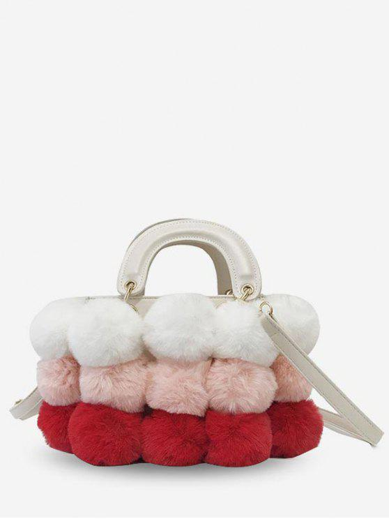 trendy Color Block Fluffy Ball Decoration Crossbody Bag - PINK