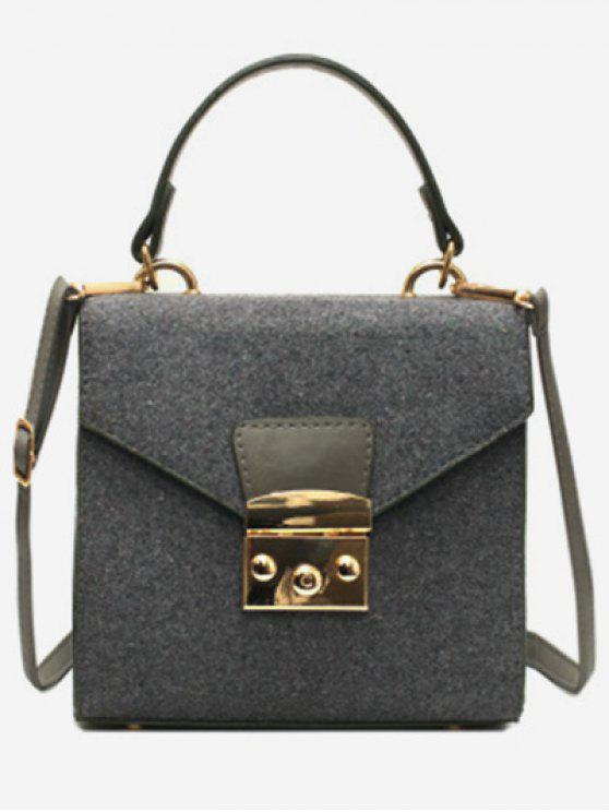 buy Suede Leather Decoration Cover Crossbody Bag - GRAY