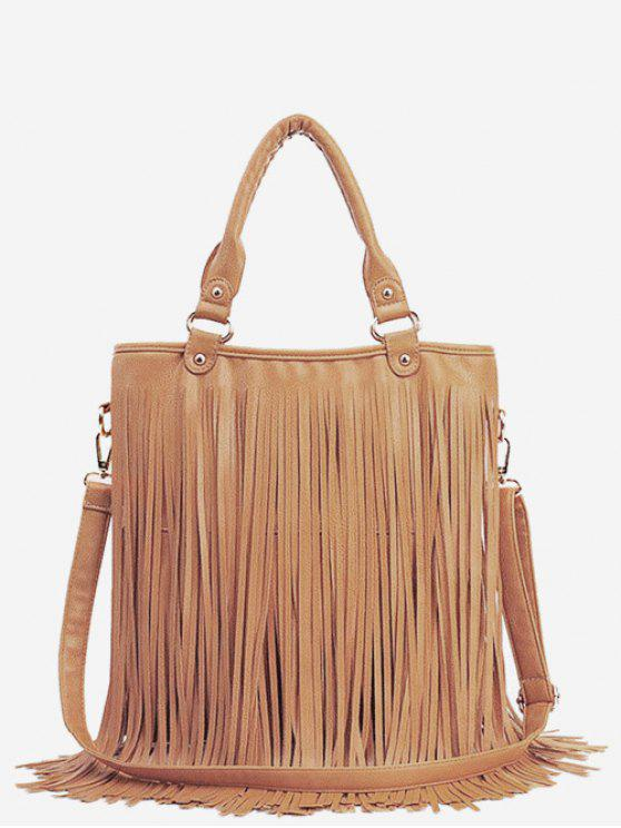 women PU Leather Tassel Design Handbag - DEEP PEACH