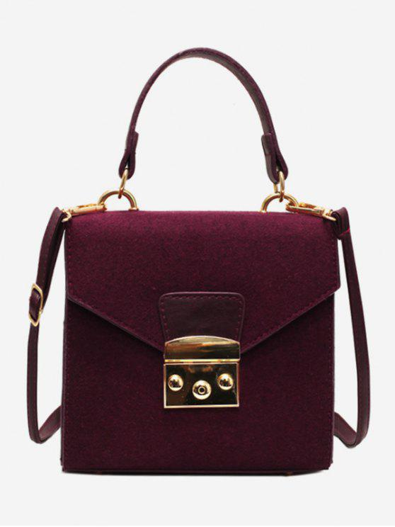 women's Suede Leather Decoration Cover Crossbody Bag - RED WINE