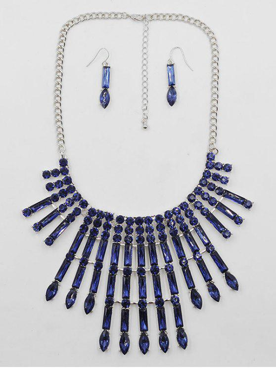 best Rhinestone Decor Statement Necklace Earrings Set - BLUE