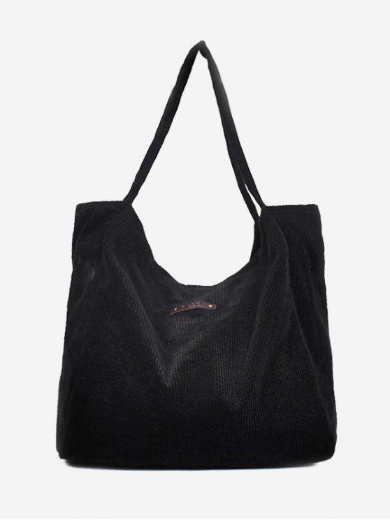 new Corduroy Large Capacity Solid Color Shoulder Bag - BLACK