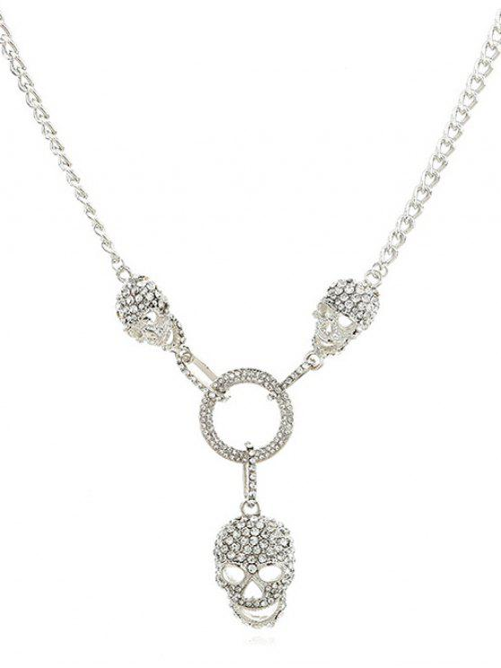 buy Hollow Skull Shape Artificial Crystal Necklace - SILVER