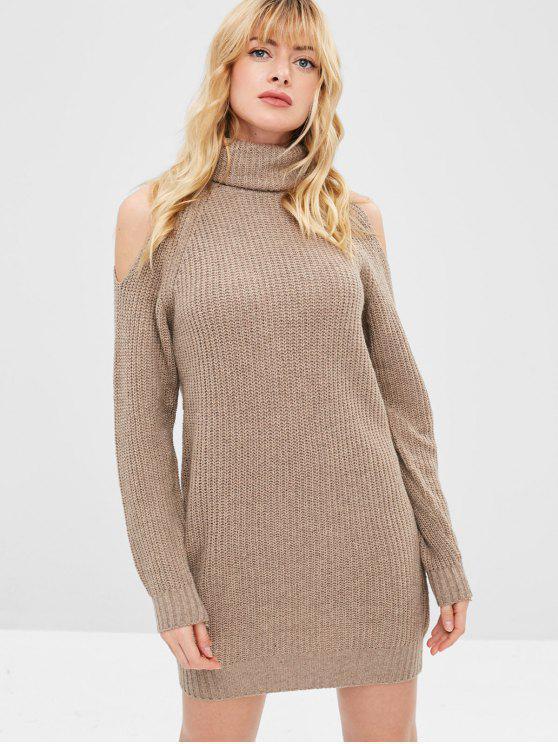 Rollkragen Cold Shoulder Jumper Kleid - Tan Eine Größe
