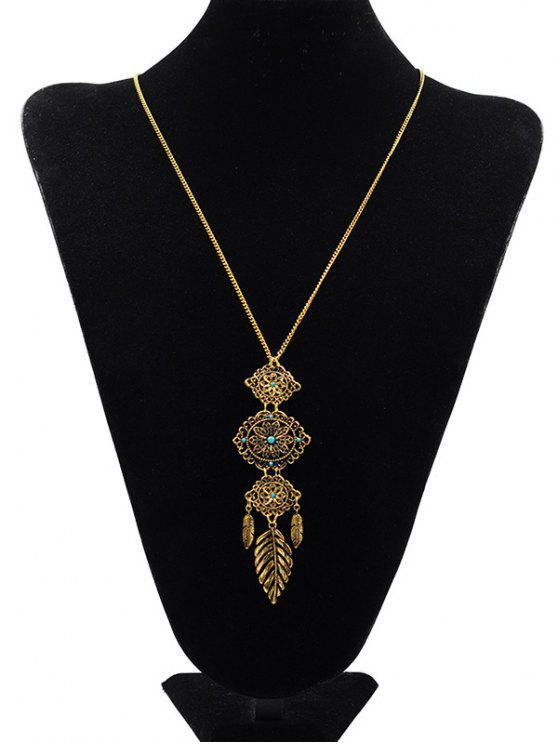 women's Floral Design Pendant Sweater Necklace - GOLD