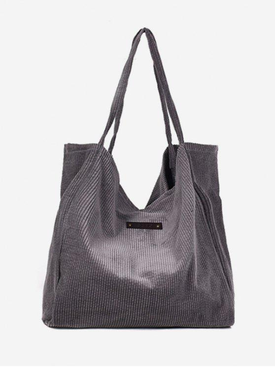 outfit Corduroy Large Capacity Solid Color Shoulder Bag - SMOKEY GRAY