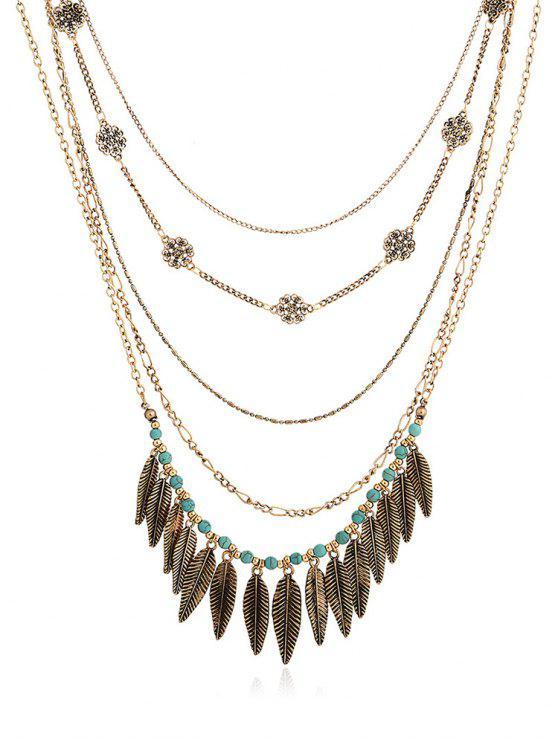 shop Flower Decor Leaf Shape Pendant Necklace - GOLD